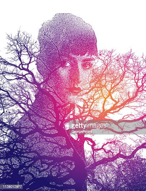 multiple exposure image of woman morphing into trees - bisexuality stock illustrations, clip art, cartoons, & icons