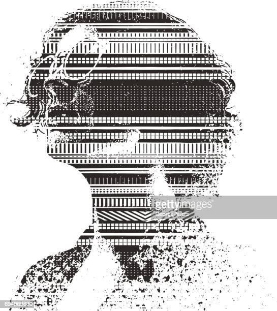 Image de l'exposition multiple du motif de visage et de la technologie de la femme