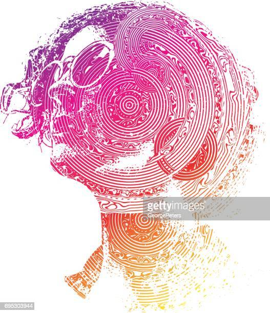 Multiple exposure image of woman's face and technology pattern