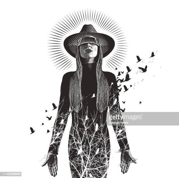 multiple exposure of a beautiful woman using virtual reality headset to connect with nature - crow stock illustrations