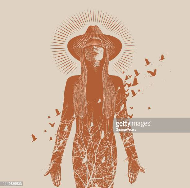 multiple exposure of a beautiful woman using virtual reality headset to connect with nature - morphing stock illustrations