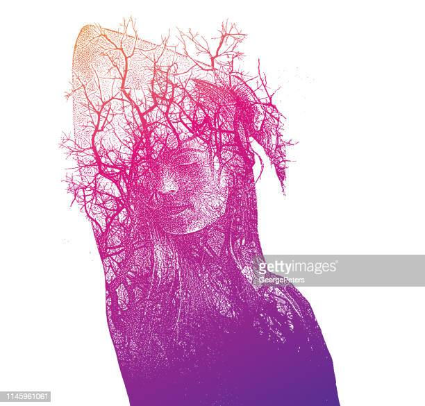 multiple exposure of a beautiful young woman and trees - mental illness stock illustrations