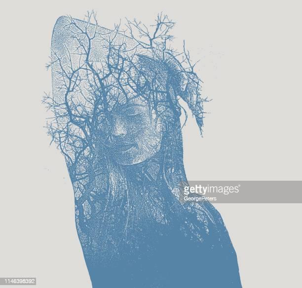 illustrations, cliparts, dessins animés et icônes de exposition multiple d'une belle jeune femme et les arbres - arbre sans feuillage