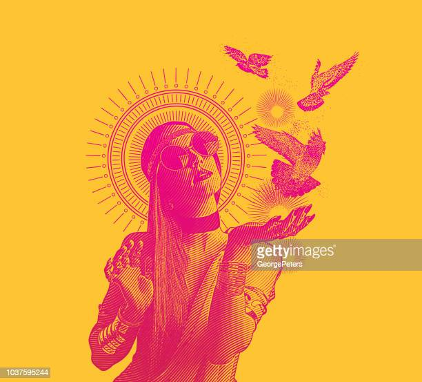 Multiple Exposure of a Spiritual boho woman and doves
