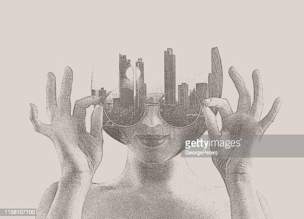 ilustraciones, imágenes clip art, dibujos animados e iconos de stock de exposición múltiple de una mujer joven y el paisaje urbano - doble exposicion negocios