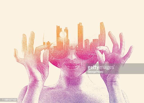 若い女性と都市景観の複数の露出 - デジタル合成点のイラスト素材/クリップアート素材/マンガ素材/アイコン素材