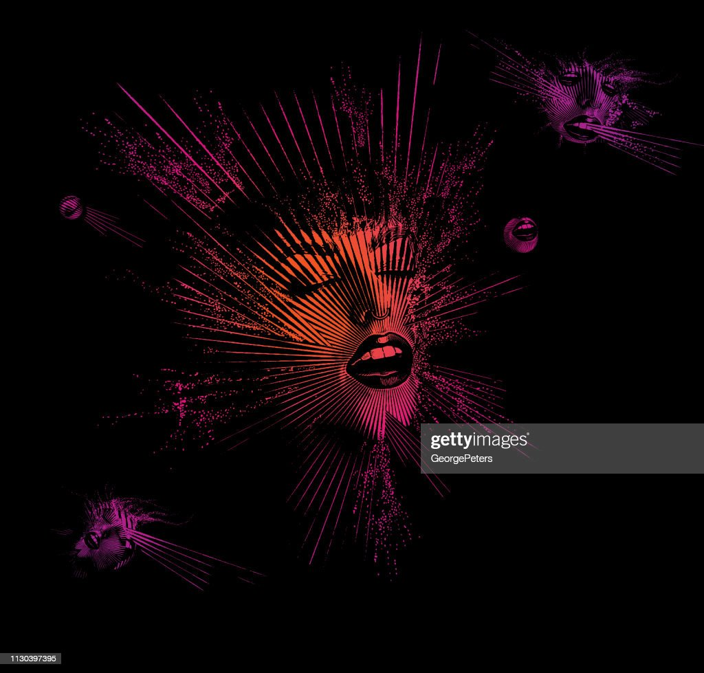 Multiple exposure of a Young woman's face with euphoric expression : stock illustration