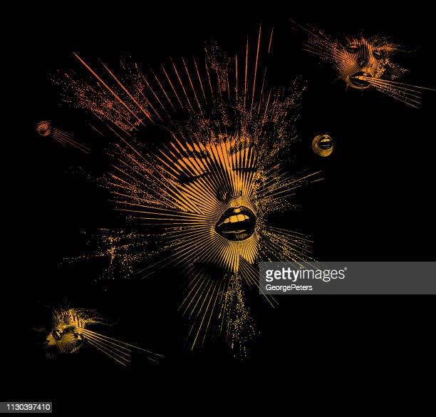 multiple exposure of a young woman's face with euphoric expression - dissolving stock illustrations, clip art, cartoons, & icons