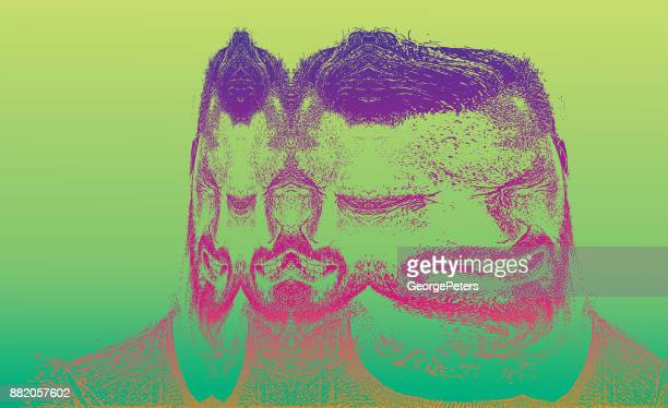 multiple exposure of an adult man and emotional stress - unhealthy living stock illustrations, clip art, cartoons, & icons