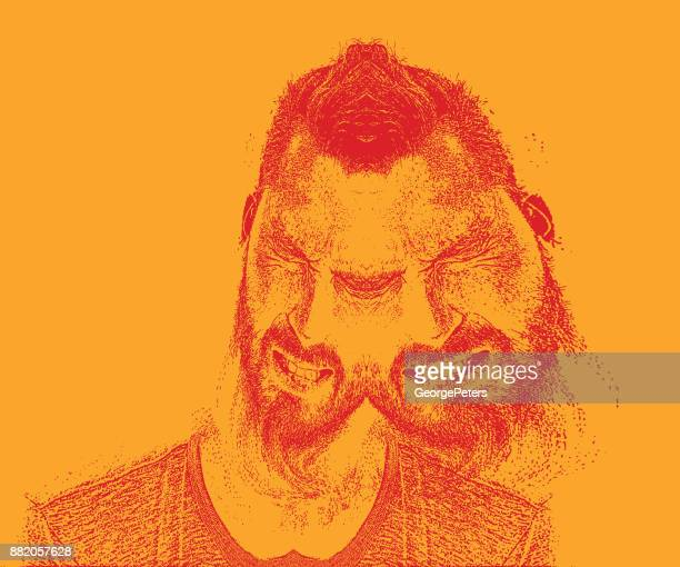 multiple exposure of an adult man and emotional stress - multiple exposure stock illustrations