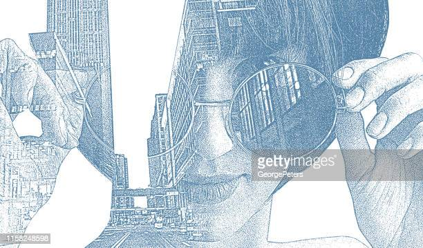multiple exposure of stylish businesswoman and cityscape - 25 29 years stock illustrations