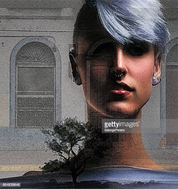 Multiple Exposure of Woman and Ancient Window