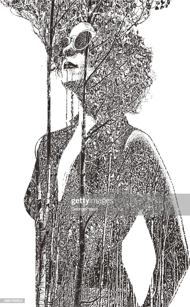 Multiple exposure of woman and trees : stock illustration