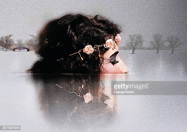 multiple exposure of woman connecting with nature - eyes closed stock illustrations, clip art, cartoons, & icons