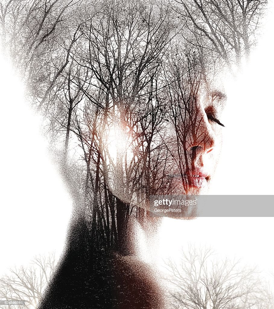 Multiple Exposure  of Woman Enjoying Forest : stock illustration