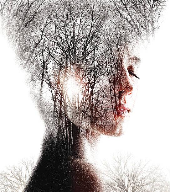 multiple exposure  of woman enjoying forest - fantasy stock illustrations