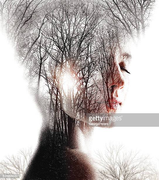 multiple exposure  of woman enjoying forest - spirituality stock illustrations, clip art, cartoons, & icons