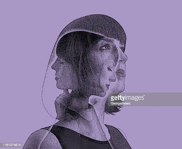 multiple exposure of woman recovering from mental illness - self improvement stock illustrations