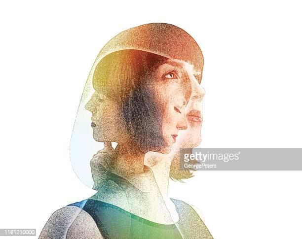 multiple exposure of woman recovering from mental illness - spirituality stock illustrations