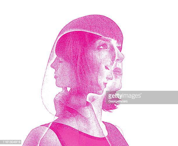 multiple exposure of woman recovering from mental illness - regret stock illustrations