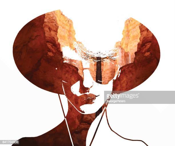 multiple exposure of woman's face and nature - zion national park stock illustrations, clip art, cartoons, & icons
