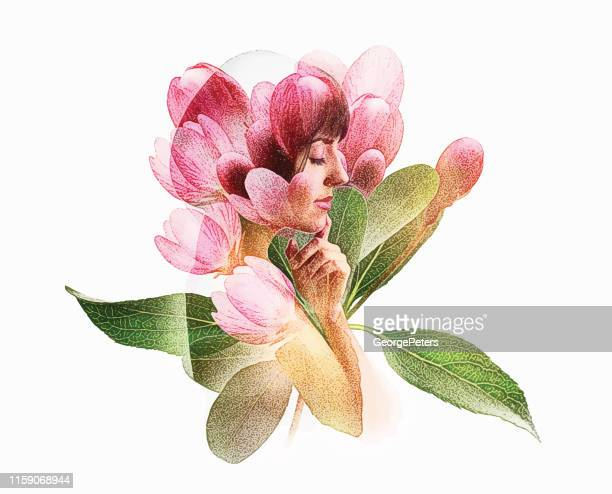 multiple exposure of young woman and apple blossoms - one woman only stock illustrations