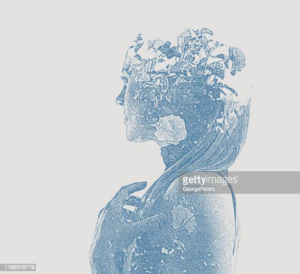 multiple exposure of young woman and flowers - atmospheric mood stock illustrations, clip art, cartoons, & icons