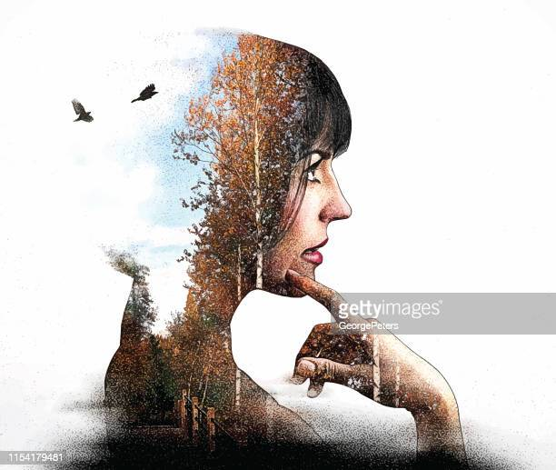 multiple exposure of young woman and forest footpath and birds - aspen tree stock illustrations, clip art, cartoons, & icons