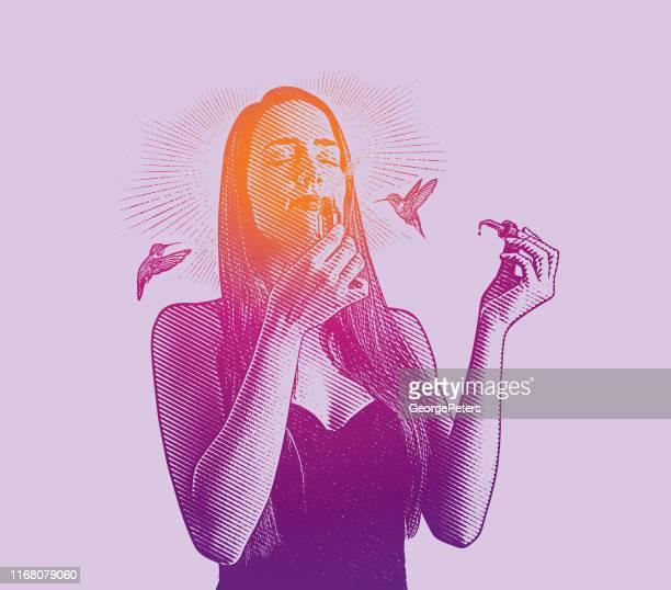 ilustraciones, imágenes clip art, dibujos animados e iconos de stock de exposición múltiple de una joven que huele aceites esenciales con colibríes - olores agradables