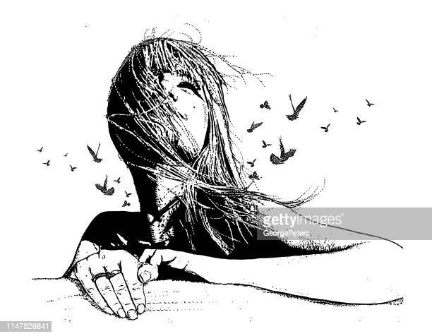 multiple exposure vector of a beautiful young woman and birds - young women stock illustrations