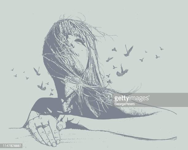 mehrfachbelichtung vektor einer schönen jungen frau und vögel - attraktive frau stock-grafiken, -clipart, -cartoons und -symbole
