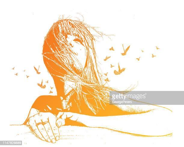 mehrfachbelichtung vektor einer schönen jungen frau und vögel - spiritualität stock-grafiken, -clipart, -cartoons und -symbole