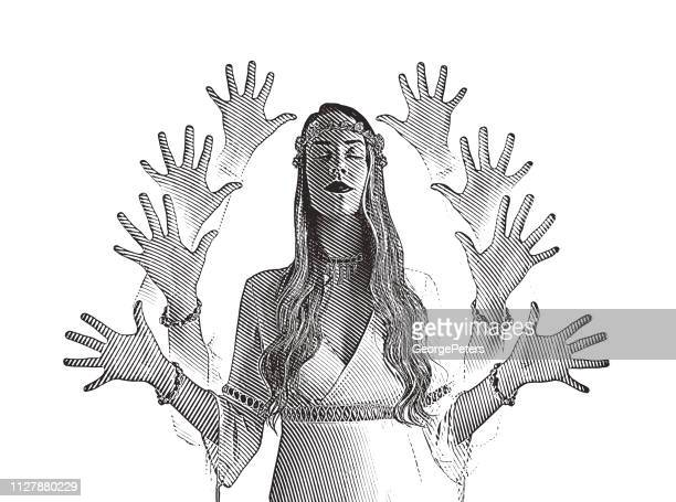 multiple exposure vector of a young boho woman meditating - multiple image stock illustrations, clip art, cartoons, & icons