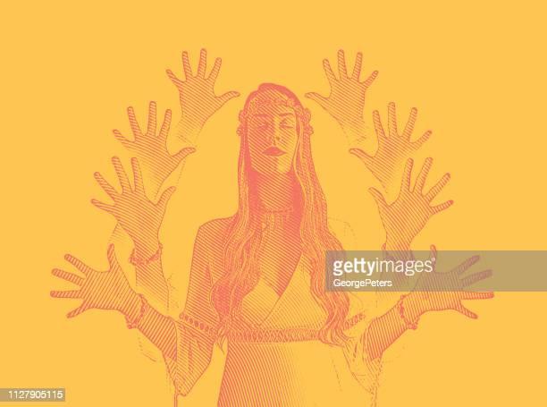 illustrations, cliparts, dessins animés et icônes de vecteur d'exposition multiples d'une femme jeune boho méditant - chakra