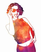 Multiple exposure watercolor portrait of an energetic woman laughing