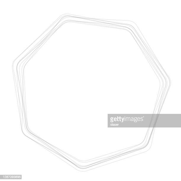 multiple heptagons (seven sided polygons) with round corners - hair part stock illustrations