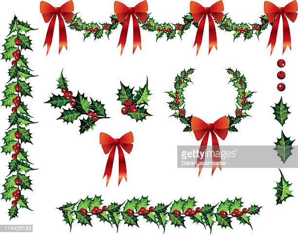 Multiple Holly Design Elements Clipart with Red Bows Vector Illustrations