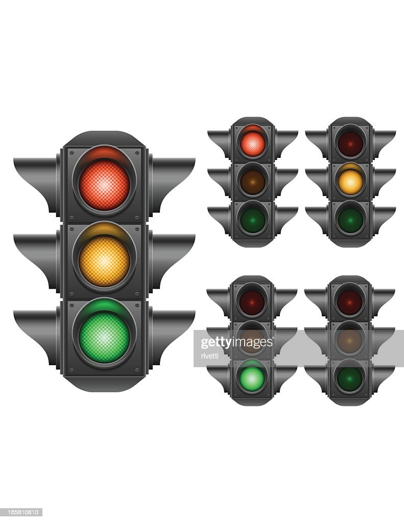 Multiple illustrations of traffic lights