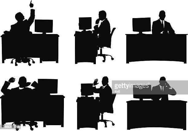 複数の画像のビジネスマンオフィスで働く
