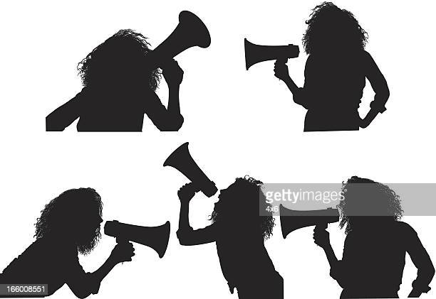 multiple image of a female with megaphone - waist up stock illustrations