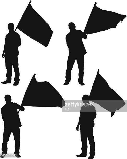 multiple image of a man standing with flag - holding stock illustrations, clip art, cartoons, & icons