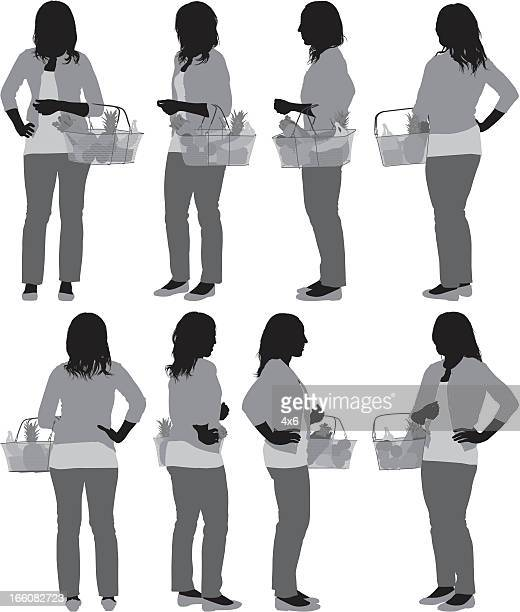 multiple image of a woman carrying fruits basket - cardigan sweater stock illustrations, clip art, cartoons, & icons