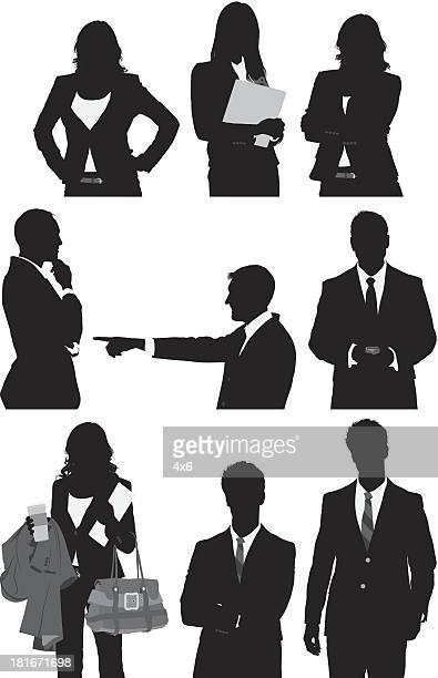 Multiple image of business people in different poses