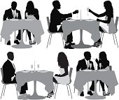 Multiple image of couple having dinner