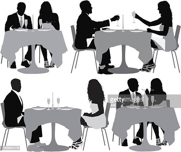 ilustraciones, imágenes clip art, dibujos animados e iconos de stock de imagen múltiple de par tener la cena - mesa de comedor