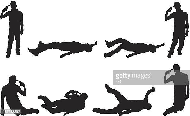 stockillustraties, clipart, cartoons en iconen met multiple image of man committing suicide by gun to head - dead body