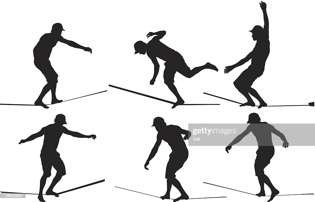 Multiple image of man walking on tight rope