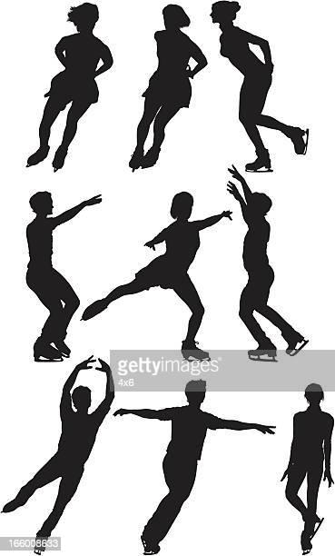 複数の画像の男性と女性のアイススケート