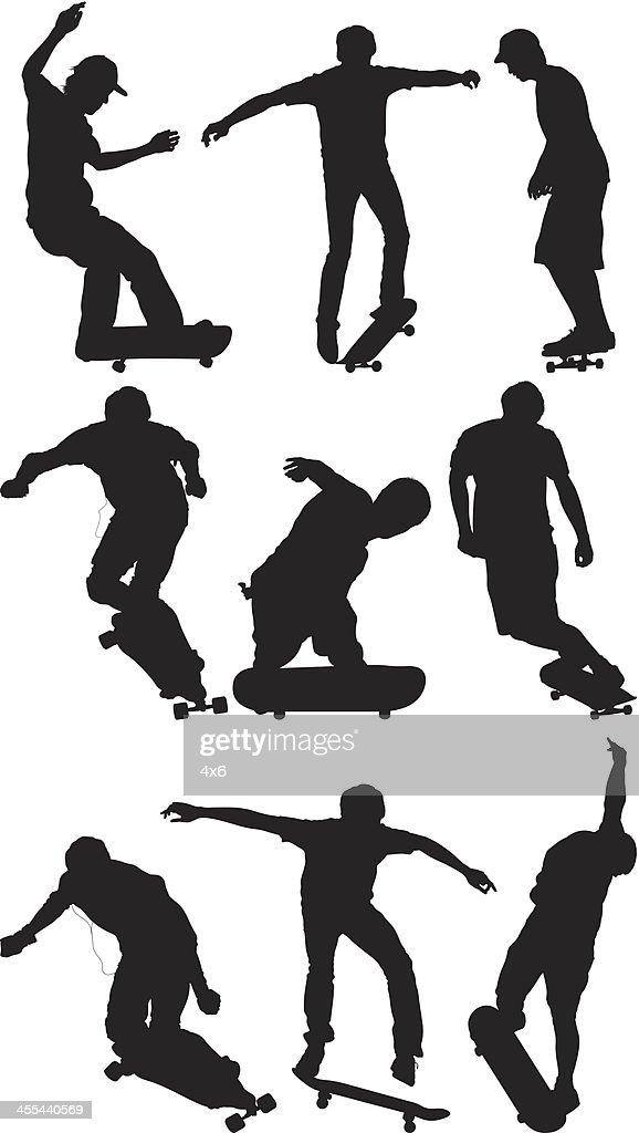 Multiple image of men skateboarding