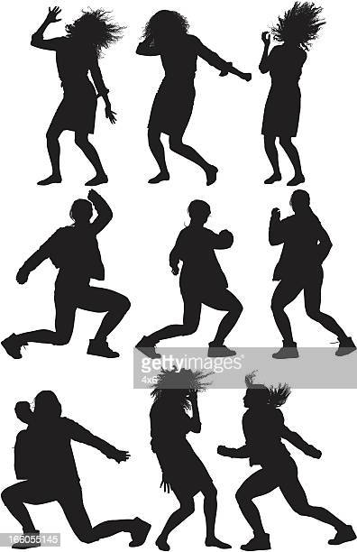 Multiple image of women dancing